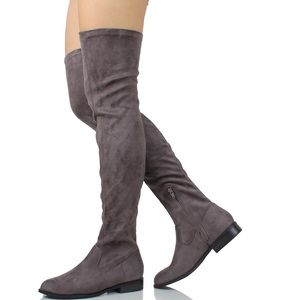 Shoes - Grey faux suede over the knee low heel boot